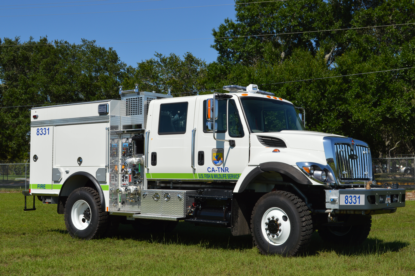 The Class 8 commercial chassis can be specified with chassis, drivetrain and safety components to provide a well-designed vehicle for use in wildland fire protection. Many wildland Type 3 vehicles utilize a short-wheelbase, four-door cab to accommodate the fire pump, tank and body. The International 7400 model chassis with factory-installed four-wheel drive was utilized for this vehicle.