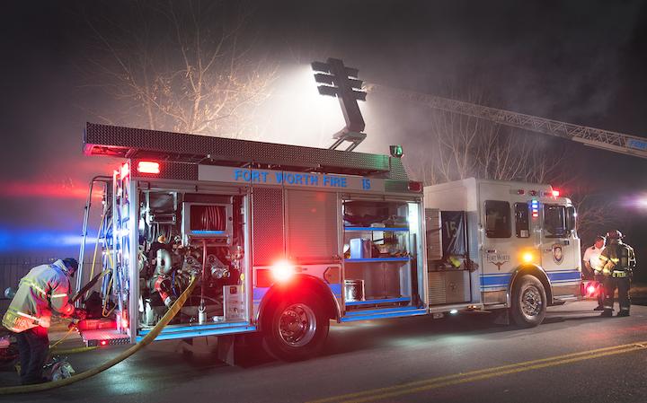 emergency lighting on scene firehouse
