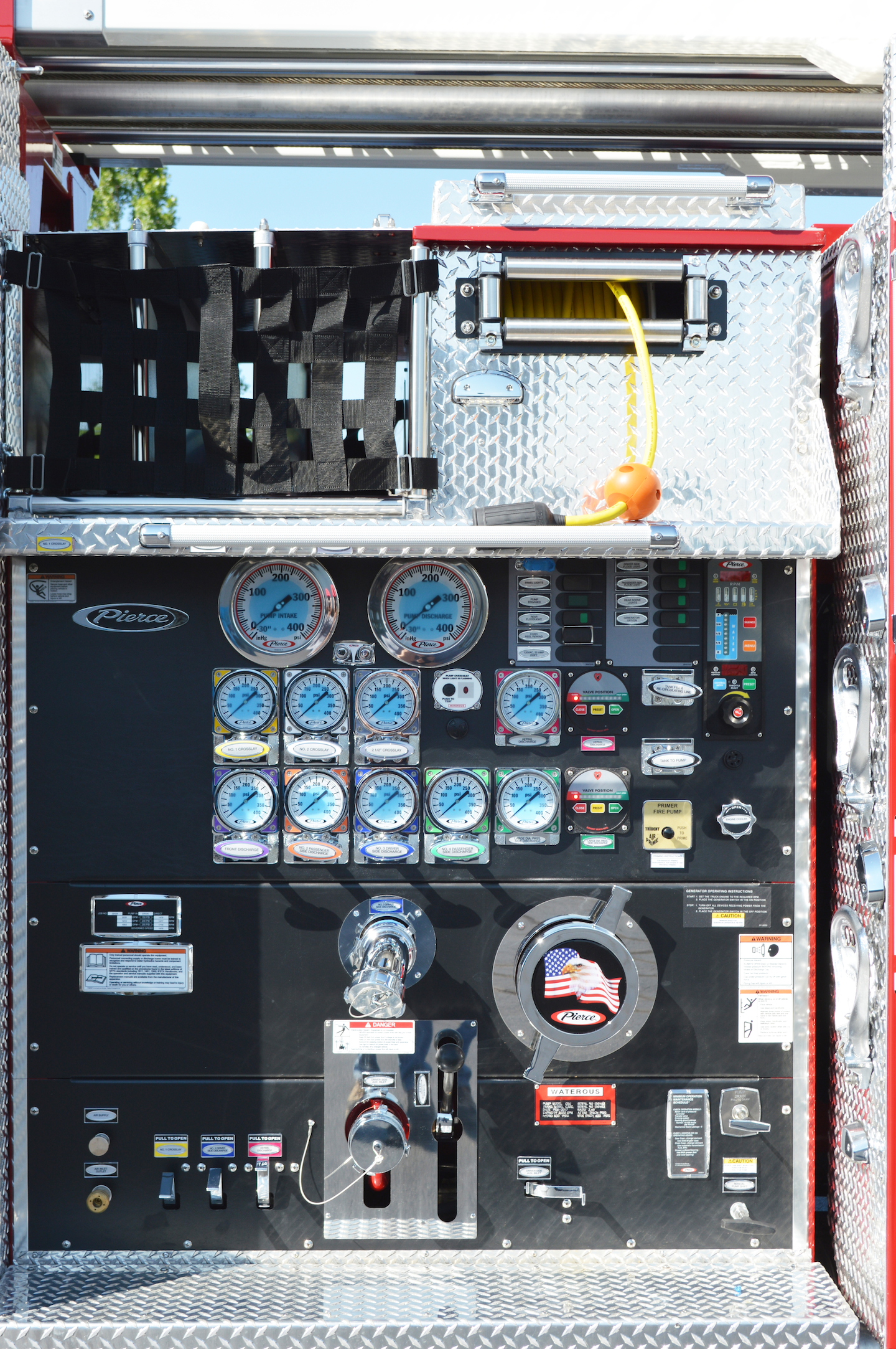 This is the space that's required for fire pump mounting on a typical rear-mount aerial tower. When combined with the water tank and hosebed storage, these components limit the number and length of ground ladders that can be carried.