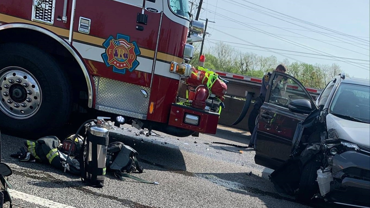 A Richmond, VA, Fire Department apparatus used as a blocker at the scene of a car fire was struck by another vehicle Wednesday.