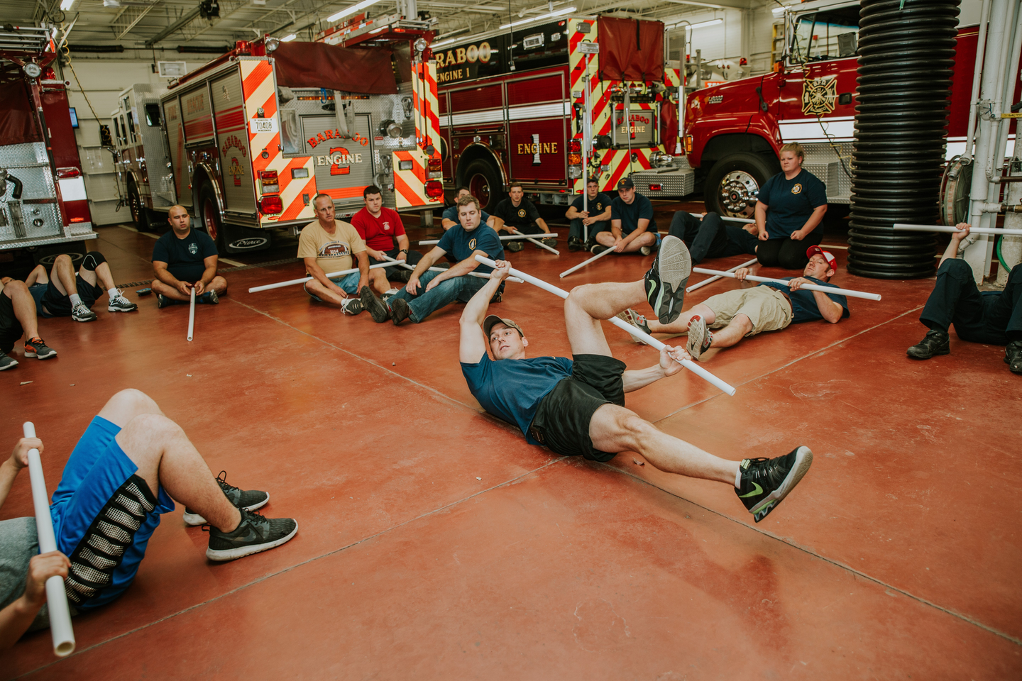 Training plans that are more classroom-based, such as this one, which was photographed in 2019, can start with a rehab-based training, such as bird dogs, knee hugs on one's back and child's poses. The goal: Lengthen the muscles, release tension, reduce inflammation.