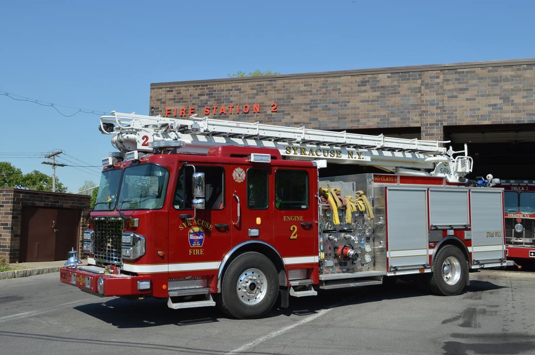 All Syracuse, NY, Fire Department engine companies operate with a 50-foot telescopic water tower, which has a stainless-steel body, a 2,000-gpm pump, a 500-gallon water tank and a Class A foam system, as shown on this 2021 Spartan Gladiator LTC rig that's assigned to Engine Company 2.